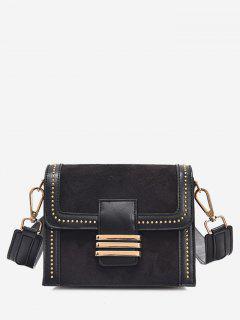 Faux Suede Studs Mini Crossbody Bag - Black
