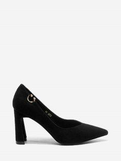 Pointed Toe High Heel Buckled Pumps - Black 34