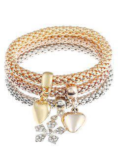 Valentine's Day Rhinestoned Floral Heart Shape Wrap Bracelets