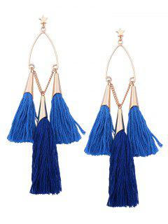 Bohemian Tassel Star Chain Chandelier Earrings - Blue