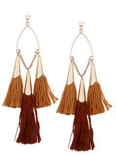 Bohemian Tassel Star Chain Chandelier Earrings - Yellow