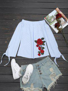 Off Shoulder Floral Appliques Striped Blouse - Charm S