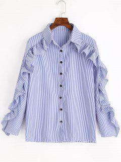 Ruffles Striped Button Up Shirt - Blue