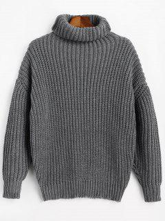 Turtleneck Longline Chunky Sweater - Gray