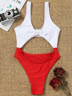 Zweifarbige High Cut Bademode - Rot & Weiß M