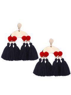 Alloy Fuzzy Ball Tassel Disc Earrings - Black