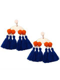Alloy Fuzzy Ball Tassel Disc Earrings - Blue