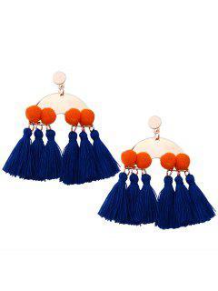 Alloy Fuzzy Ball Tassel Disc Earrings - Blue