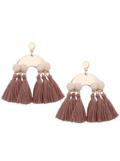 Alloy Fuzzy Ball Tassel Disc Earrings - Cappuccino
