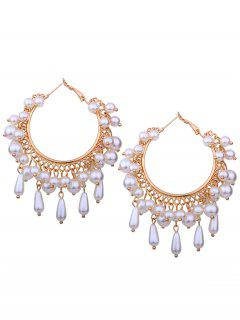 Artificial Pearl Chandelier Hoop Earrings - Golden