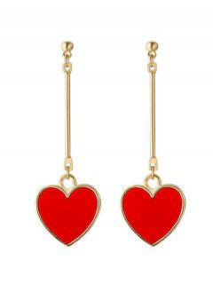 Valentine's Day Heart Metal Drop Earrings - Red
