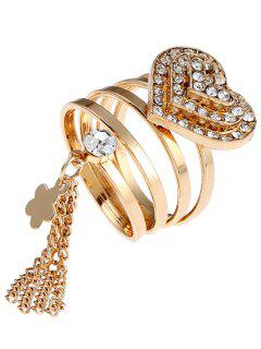 Valentine Rhinestone Heart Fringed Charm Ring - Golden