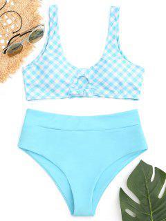 Tied Plaid High Waisted Bikini Set - Lake Blue M