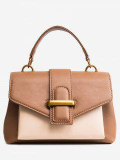 Buckled Color Block PU Leather Handbag - Brown