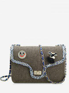 Twist-lock Embellished Crossbody Bag - Brown