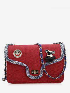 Twist-lock Embellished Crossbody Bag - Red