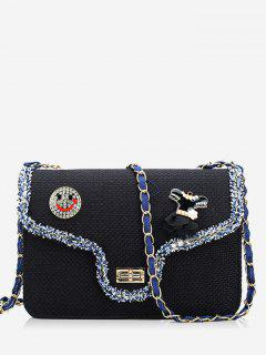 Twist-lock Embellished Crossbody Bag - Black
