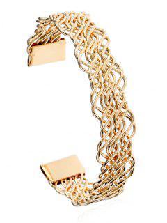 Hollow Out Twist Metal Cuff Bracelet - Golden