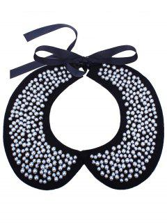Faux Pearl Bib Fake Collar Necklace - White
