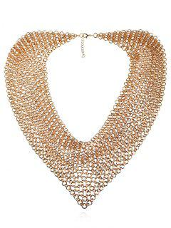 Statement Alloy Circles Fake Collar Necklace - Golden
