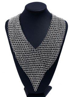 Statement Alloy Circles Fake Collar Necklace - Silver