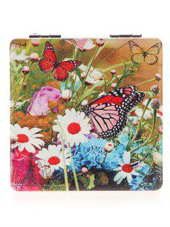 Two-sided Square Butterfly Pattern Makeup Mirror