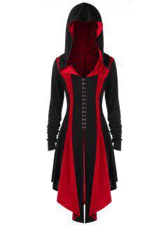Abrigo Con Capucha Con Cordones Y Talla Grande - Negro&rojo 5xl
