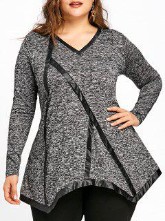 Plus Size V-Ausschnitt Marled Tunika T-Shirt - Grau 5xl