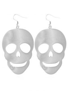 Skull Pattern Drop Earrings - Silver