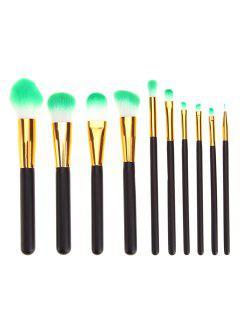 10 Pcs Professional Black And Golden Handle Cosmetic Brushes Set - Black