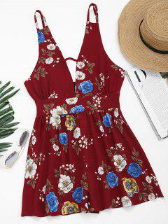Cut Out Flower Print Cami Romper - Floral S