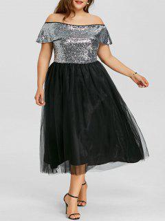 Vestido A Media Pierna Con Estampado De Lentejuelas Con Hombros Descubiertos - Negro 5xl
