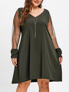 Vestido De Túnica Con Cuello En V De Cuello Redondo - Verde 4xl