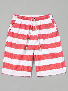 Striped Board Shorts - Red With White M