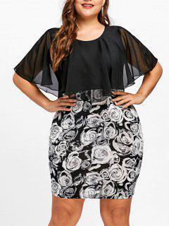 Robe Moulante à Imprimé Rose Et Grande Taille - Noir 5xl