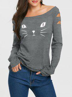 T-shirt Détresse à Visage De Chat Imprimé à Manches Longues - Gris L