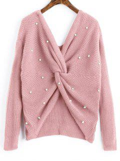 V Neck Twist Pearly Sweater - Pink