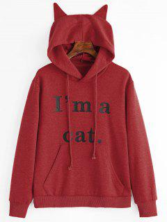 Front Pocket Letter Graphic Cat Hoodie - Deep Red L