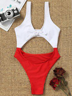 Cut Out Two Tone High Cut Swimwear - Red With White L