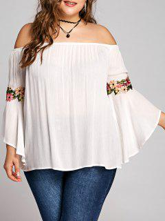 Plus Size Embroidery Bell Sleeve Blouse - White 5xl