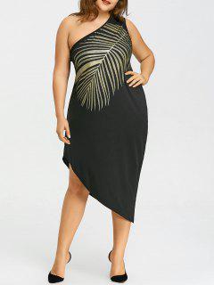 Plus Size Leaf Muster Eine Schulter Kleid - Schwarz 5xl