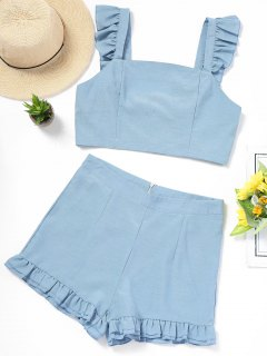 Back Tied Ruffle Top And High Waisted Shorts Set - Light Blue L