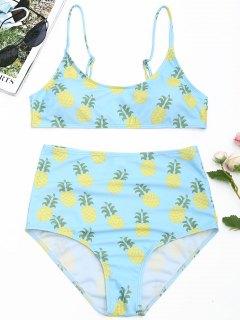 Ensemble De Bikini Taille Haute Imprimé Ananas - Bleu Clair L
