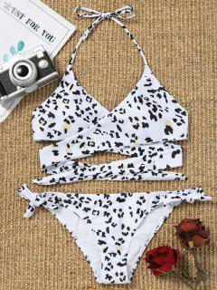 Riemchen Leopard Druck Wickel Bikini Set - Weiß S