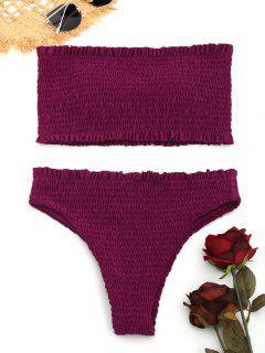 Smocked Volant Bandeau Bikini Set - Magenta L