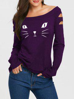 Camiseta Manga Larga Con Estampado De Gato En La Cara - Púrpura 2xl