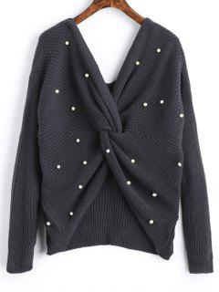 V Neck Twist Pearly Sweater - Deep Gray
