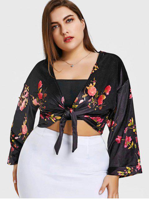 Haut Enveloppant Floral en Velours Grande Taille - Noir 2XL Mobile