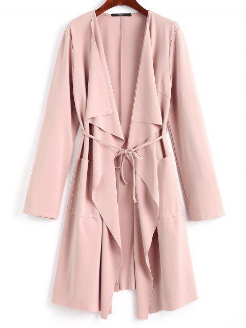 hot Front Pockets Draped Coat - PINK S Mobile