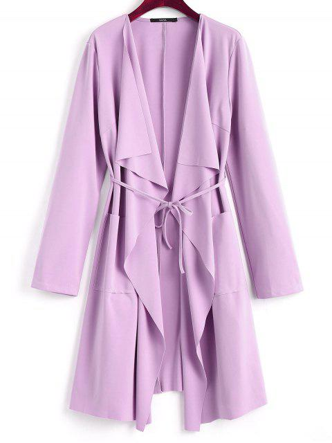 women Front Pockets Draped Coat - LIGHT PURPLE M Mobile